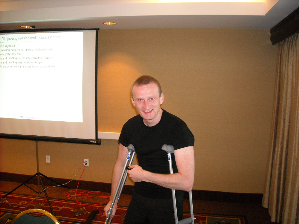 Young Tanel delivering training with a broken leg!